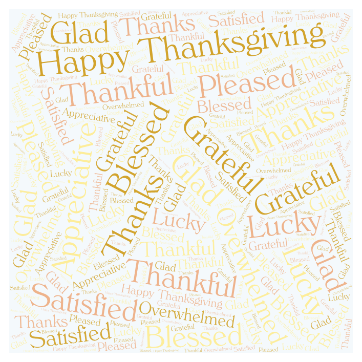 Happy Thanksgiving Thanks Grateful Word Art